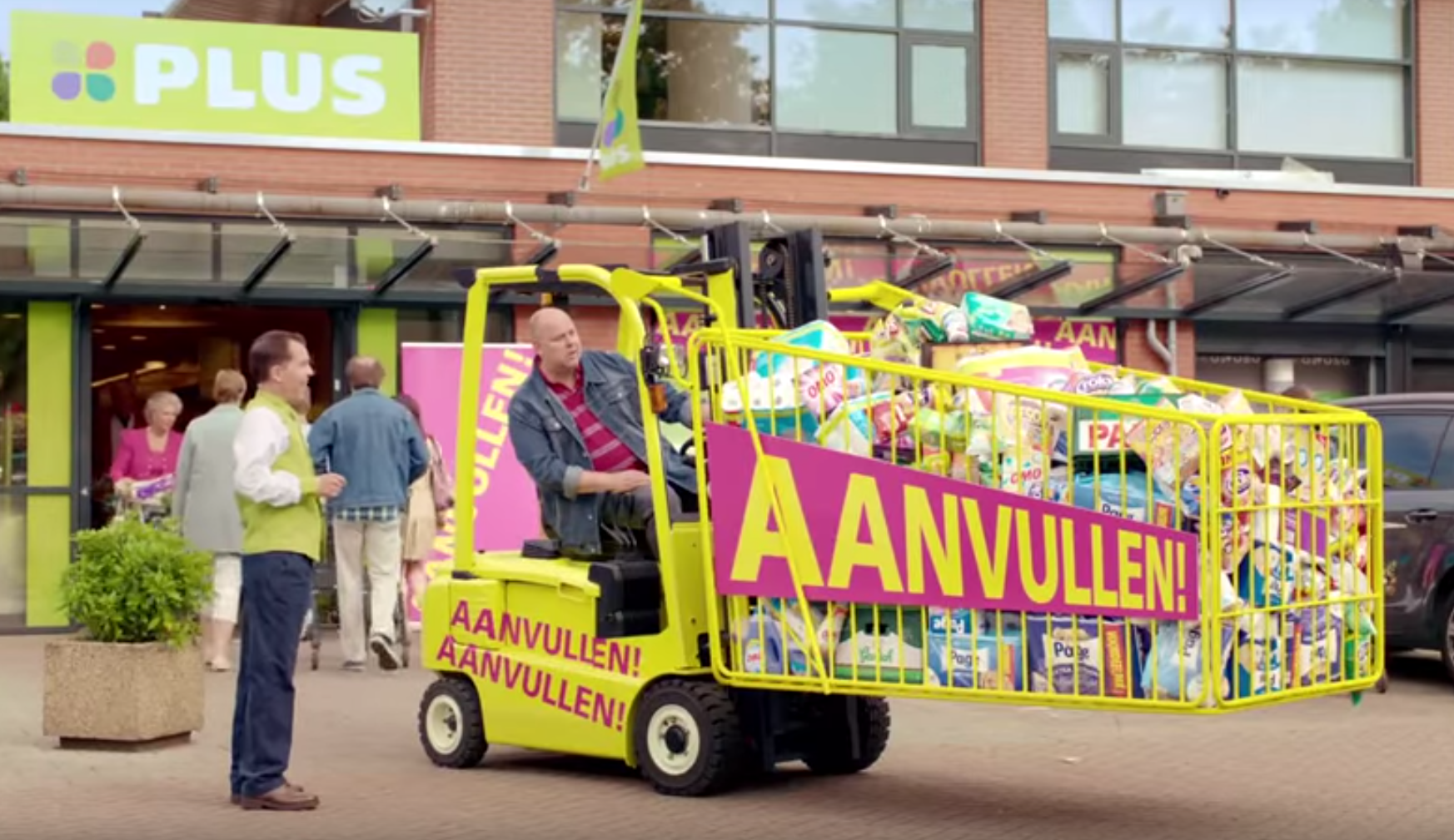 Heftrucks in reclamespotjes